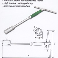 KUNCI SOCK T PUTAR 8 MM TEKIRO / T-TYPE WRENCH ROTARY