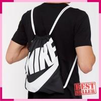 Tas Sepatu Nike Heritage Gymsack Black White BA5351-011 Original BNWT