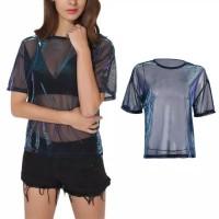 Hologram Sheer Top Oversize Atasan Wanita Hologram