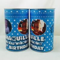 Souvenir celengan kaleng custom baby bos