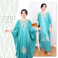 KAFTAN SATIN/ KAFTAN BRUKAT MAXI CAPE BORDIR/ DRESS MUSLIM NADIRA