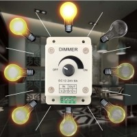 DC 12 24V 8A Light Dimmer Switch Adjustable Brightness Control For Si