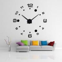 Jam Dinding 3D DIY Besar Giant Wall Clock angka bulat black Acrylic