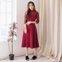 YENSIN DRESS DS-032 Scuba Brokat Halus Nyaman Fashion Wanita Stretch
