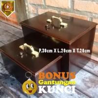 Kotak Amal Kayu Jati Polos Besar ( 30cm x 20cm x 20cm )
