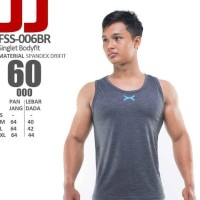 PASTI SALE FSS-006BR KAOS SINGLET FULL COVER FLEX FITNESS GYM BEST