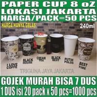 Paper Cup 8oz 50pcs Gelas Kertas Kopi 8 Oz Tahan Panas 240ml Jakarta