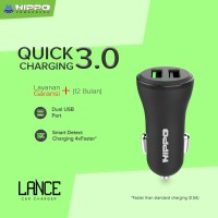 Hippo LANCE Car Charger Mobil Quick Fast Charging 3.0 SIMPLE PACK
