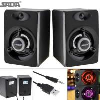SADA V-118 Speaker Stereo with LED & USB Power - Hitam