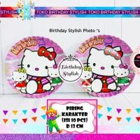 Piring Kue Kertas/ Karton Ulang Tahun Karakter Hello Kitty isi 10 pcs