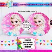 Piring Kue Kertas Ulang Tahun Karakter Frozen Pink isi 10 pcs