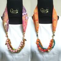 Harga kalung etnik 2in1 gelang batik cap dobby manik kaca batu | Pembandingharga.com
