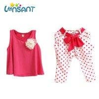 LONSANT New 2018 Summer Baby Girl clothes sweet Flower Casual