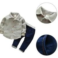 Pecah Harga Setelan Kemeja Bayi Anak Laki Laki 2 Pcs Celana +Kemeja