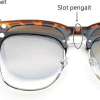 Frame Kacamata Minus R@yBan Clip-On 5 Lensa , Kacamata Baca , plus