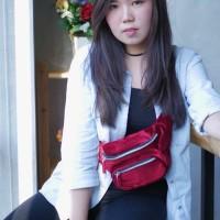 H&M Waist Bag Belt Bag Velvet HnM import murah