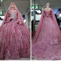gaun nikah kebaya pengantin muslimah set kerudung lengan terompet