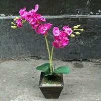 Jual Set bunga plastik anggrek kain warna warni dengan pot ...