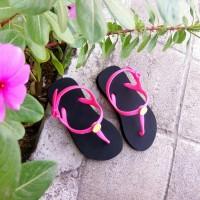 Sandal Popits Anak Slingback Black Fuschia