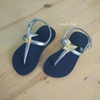 Sandal Popits Anak Slingback Navy Silver
