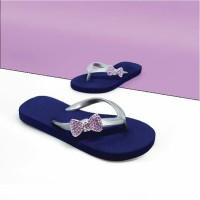 Sandal Popits Anak Flat Navy Silver