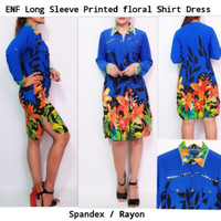 Jual ENFOCUS STUDIO Long Sleeve Printed Floral Blue Shirt