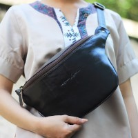 Waist Leather Bag Donald Dark Brown - Kenes Leather