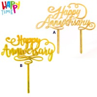 CAKE TOPPER ACRYLIC HAPPY ANNIVERSARY WEDDING HIASAN CAKE TOPPER MURAH