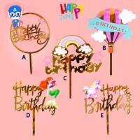 CAKE TOPPER ACRYLIC HAPPY BIRTHDAY KARAKTER HIASAN CAKE TOPPER MURAH