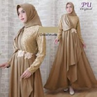 6546 Baju muslimah coksu muda dress gamis coklat bordir bunga cantik