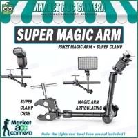 """PAKET Articulating Magic Arm 11"""" + Super Clamp Crab Aluminium"""