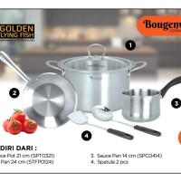 Bougenville Cookware Set 6 Pcs Stainless Steel - Golden Flying Fish