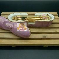 Keramik Tempat Sendok Teh dan garpu kue terbuat dari Keramik JAPAN