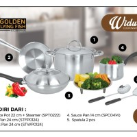 Widuri Cookware Set 9 Pcs Stainless Steel - Golden Flying Fish