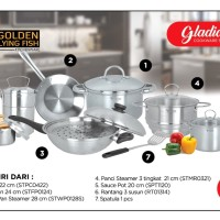 Gladiol Cookware Set 15 Pcs Stainless Steel - Golden Flying Fish