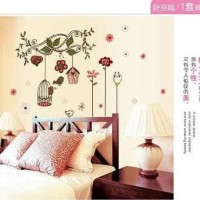 Wall Sticker 50X70/Wall Stiker Transparan-Ay7102-Love Flower N Cage