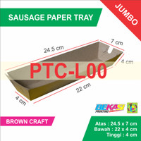 BROWN KRAFT Sausage Paper Tray - Jumbo Size 24.5 x 7 x 4 cm