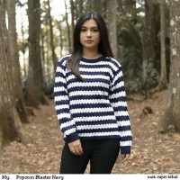 Rajut murah + popcorn navy + realpict on model