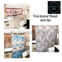 Tirai kamar mandi air PEVA / gorden kamar mandi shower curtain - flower