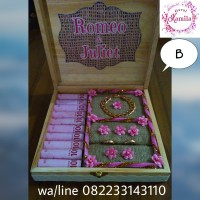 box kayu rustic untuk perhiasan dan uang mahar hantaran seserahan
