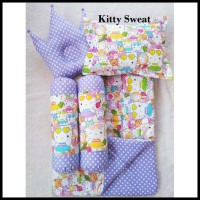 Grab Ok Kitty Sweat Baby Bed Set Bedcover Selimut Bantal Cover Crown