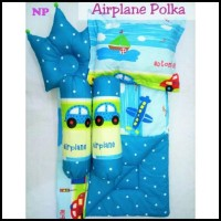 Gosend Ok Airplane Polka Baby Bed Set Bedcover Selimut Bantal Cover