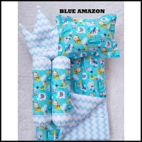 Terbaru Blue Amazon Baby Bed Set Bedcover Selimut Bantal Cover Crown