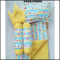 Gosend Ok Pooh Stripe Baby Bed Set Bedcover Selimut Bantal Cover Crown