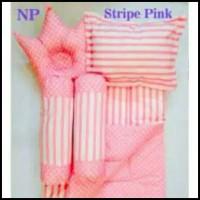 Jual Stripe Pink Baby Bed Set Bedcover Selimut Bantal Cover Crown