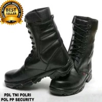 SEPATU KULIT SAFETY BOOT KICKERS PDL / PDH ZIPPET FULL BLACK .