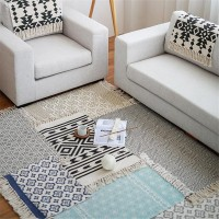 Retro Carpet Rug Cotton Tassels Yarn Dyed Table Ruuner Bedspread