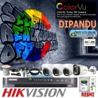 Paket CCTV Hikvision 4 Kamera ColorVu 2MP Dipandu Pemasangan