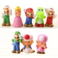 Action Figure Pajangan Super Mario Bros Luigi Princess Toad Yoshi Toys
