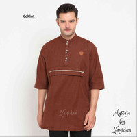Baju Koko Gamis Pria Terbaru Zayidan - Mustafa - Coklat